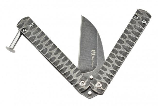 Maxknives P42 Couteau papillon en acier stonewash